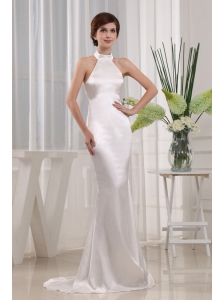 Simple Mermaid Prom Celebrity Dress White Halter  In 2013