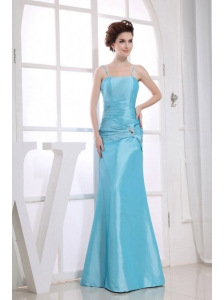 Spaghetti  Straps Aqua Blue Beading Decorate Bodice Mermaid Floor-length 2013 Prom Dress