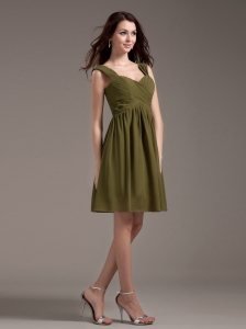 Straps Knee-length Olive Green Chiffon 2013 Bridemaid Dress