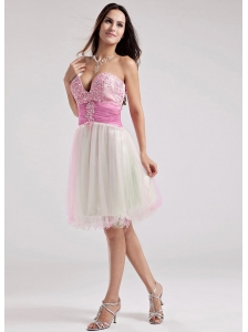 Sweetheart A-Line Organza Beading Prom Dress Multi-color Knee-length