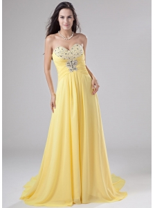 Sweetheart Chiffon Beading Brush / Sweep Prom Dress Empire Yellow