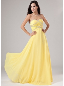 Sweetheart Chiffon Beading Floor-length Prom Dress Empire Yellow