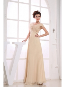 V-neck Champagne Chiffon Floor-length Ruching 2013 Prom Dress For Formal Evening