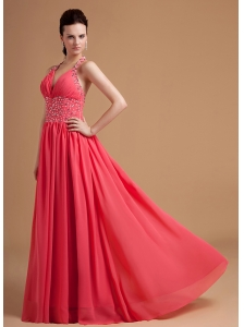 Watermelon Prom / Evening Dress With Beaded Halter Chiffon