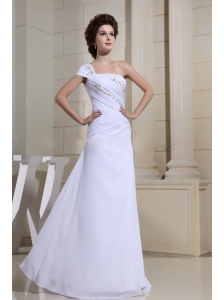 White Beaded Decorate One Shoulder and Bodice For Custom Made Prom Dress