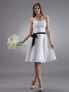 White Bridemaid Dress With Black Sash Knee-length Chiffon