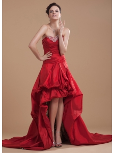 Wine Red Prom Dress High-low Sweetheart Beaded and Pick-ups Court Train