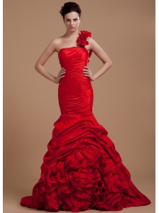 Wine Red Prom Dress With One Shoulder Hand Made Flowers and Ruffled Layers Mermaid Brush Train