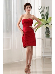 Wine Red Ruched Over Skirt and Mini-length For Simple Prom Dress