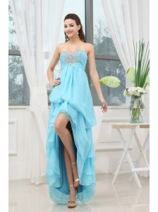 Aqua Blue Prom Dress With Appliques High-low Chiffon For Custom Made