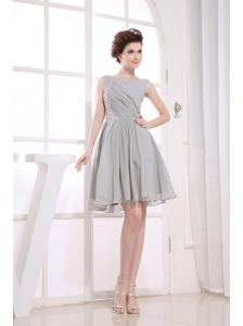 Bateau Grey knee-length Chiffon 2013 Prom Dress
