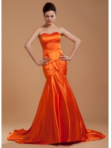 Beading Decorate Bodice Mermaid Orange Red Brush Train Sweetheart Neckline 2013 Prom Dress