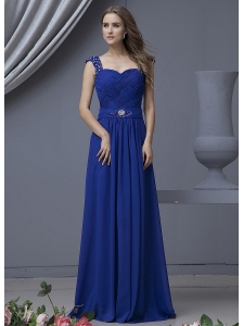 Beading Decorate Bodice Straps Blue Chiffon Floor-length 2013 Prom Dress