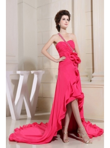 Coral Red Prom Dress With High-low One Shoulder and Hand Made Flowers