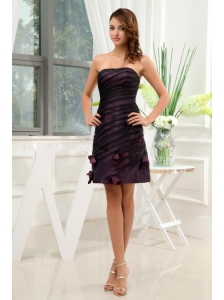 Dark Purple Homecoming Dress With Hand Made Flowers Mini-length