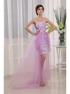Appliques Column Strapless Lavender Tulle Brush / Sweep Prom Dress