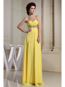 Beaded Decorate Waist and Sweetheart For Yellow Prom Dress