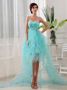 Beading Column Sweetheart Organza High-low Prom Dress Blue