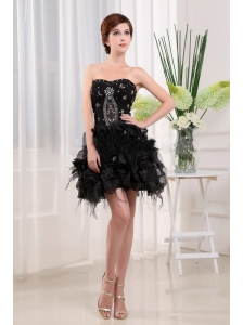 Beading Strapless A-Line Black Tulle Mini-length Prom Dress