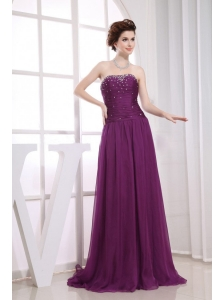 Fuchsia Beaded Decorate Prom Celebrity Dress Empire Strapless Brush Train In 2013