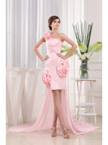 Lovely High-low One Shoulder Hand Made Flowers Baby Pink Prom Dress Strapless With Ruch
