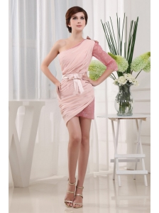Popular Baby Pink 2013 Prom Cocktail Dress With One Shoulder Mini-length