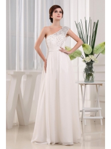 Pretty White One Shoulder Beading Prom Celebrity Dress In 2013