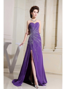 Purple Prom / Evening Dress With Beading and High Slit Brush Train