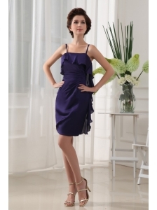 Ruffles Column Mini-length Chiffon Straps Prom Dress Purple