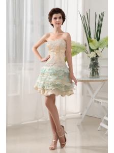 Sweetheart and Ruffled Layers For Short prom Dress With Beading