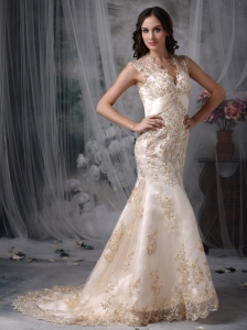 V-neck Mermaid Wedding Dress Satin and Lace Brush Train