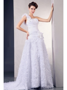 2013 Wedding Dress With One Shoulder Hand Made Flowers Fabric With Rolling Flowers Court Train For Custom Made