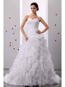 A-line Sweet Sweetheart Ruffles Wedding Dress With Ruched Bodice In 2013