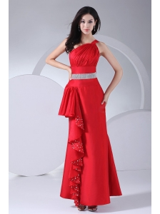 Beading and Ruching Decorate Bodice One Shoulder Ankle-length 2013 Prom Dress