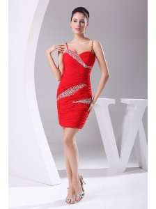 Beading and Ruching Decorate Bodice Red Chiffon Spaghetti Straps Mini-length 2013 Prom Dress