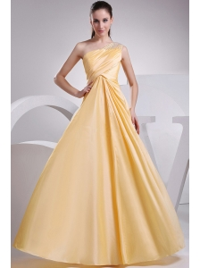 Beading and Ruching Decorate One Shoulder A-line Yellow Taffeta Prom Dress For 2013 Floor-length