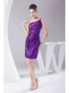 Beading Decorate One Shoulder Mini-length Purple Sequin Prom Dress For 2013