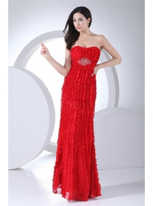 Beading Red Chiffon Prom Dress For Formal Evening Ankle-length