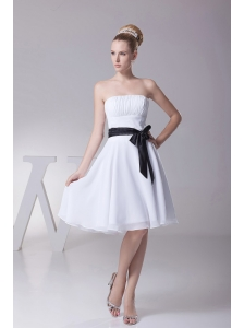 Black Sashes/Ribbons Strapless Chiffon White A-Line Knee-length Bridesmaid Dress