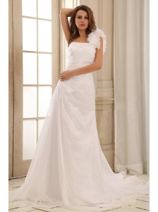 Discount A-line One Shoulder Weding Dress With Hand Made Flowers and Ruch In 2013