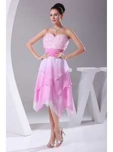 Hand Made Flowers Ombre Fabric Asymmetrical Sweetheart 2013 Prom Dress