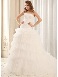 Popular Ball Gown Appliques Wedding Dress With Ruffled Layers Tulle In 2013