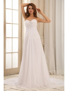 Pretty Sweetehart Beaded Decorate and Ruch Weding Dress For Outdoor