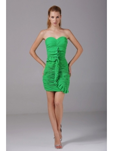 Ruching Decorate Bodice Spring Green Chiffon Mini-length 2013 Prom Dress