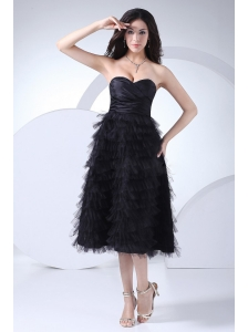 Ruffled Layers Sweetheart Neckline Tea-length Black Taffeta and Tulle 2013 Prom Dress