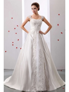 Stylish A-line Straps Lace Decorate Wedding Dress With Ruched Bodice In 2013