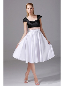 White and Black Satin Knee-length 2013 Prom Dress Cap Sleeves