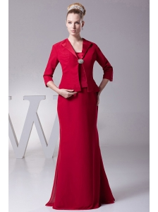 Wine Red Straps Mother Of The Bride Dress For 2013 Custom Made