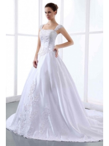 2013 Custom Made Embroidery Wedding Dress With Straps Cathedral Train A-line