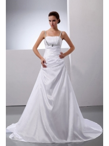 A-Line / Princess Taffeta Straps Beading Court Train Wedding Dress